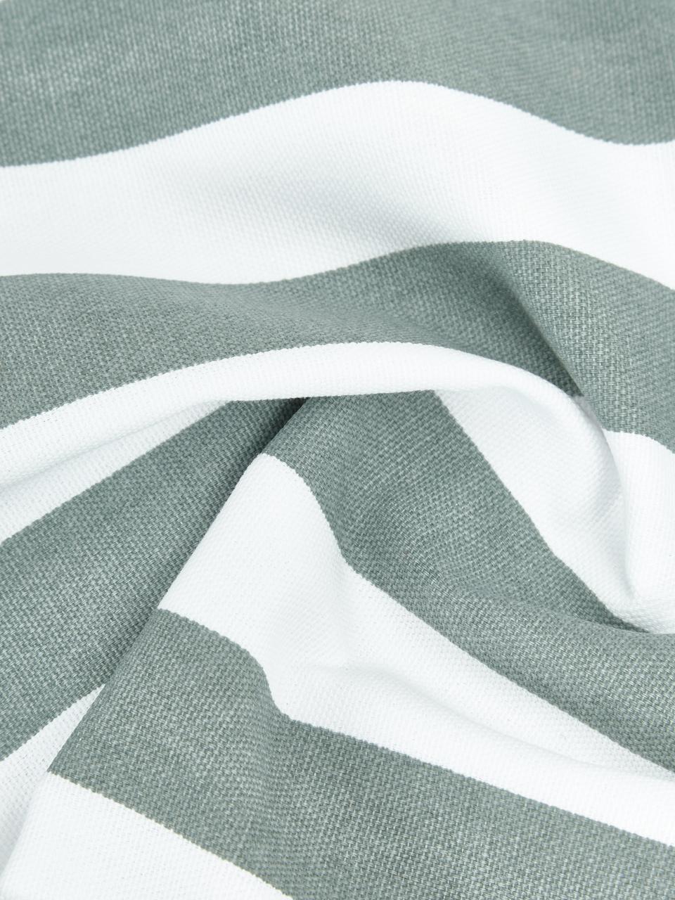 Gestreifte Kissenhülle Timon in Salbeigrün/Weiß, 100% Baumwolle, Grün, 40 x 40 cm