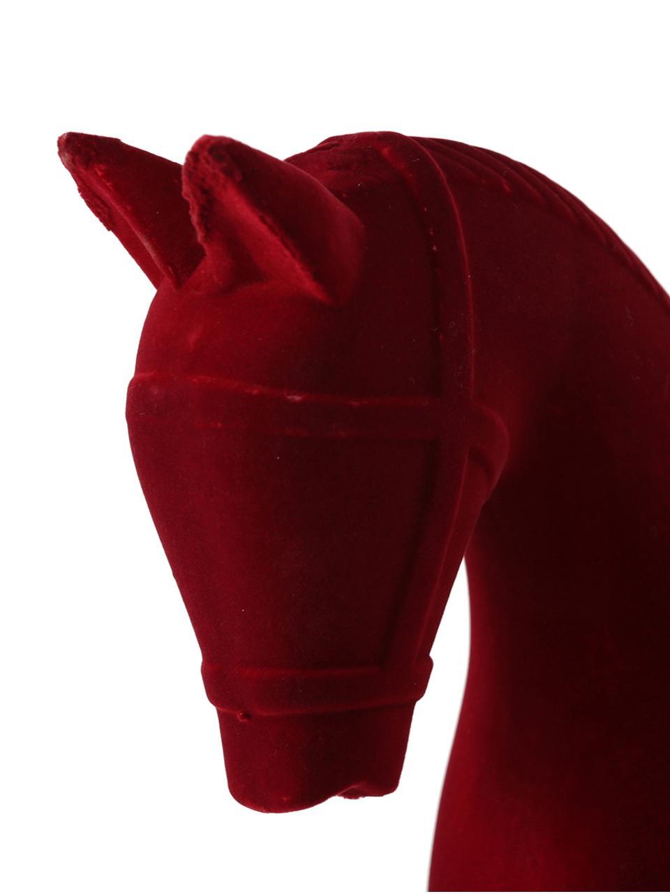 Oggetto decorativo in velluto Rocking Horse, Rivestimento: velluto, Struttura: pannelli di fibra a media, Rosso, Larg. 38 x Alt. 31 cm
