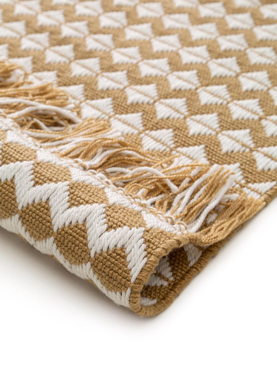 In- & Outdoor-Teppich Morty mit Ethnomuster und Fransen, 100% Polyester (recyceltes PET), Gelb, gebrochenes Weiß, B 80 x L 150 cm (Größe XS)