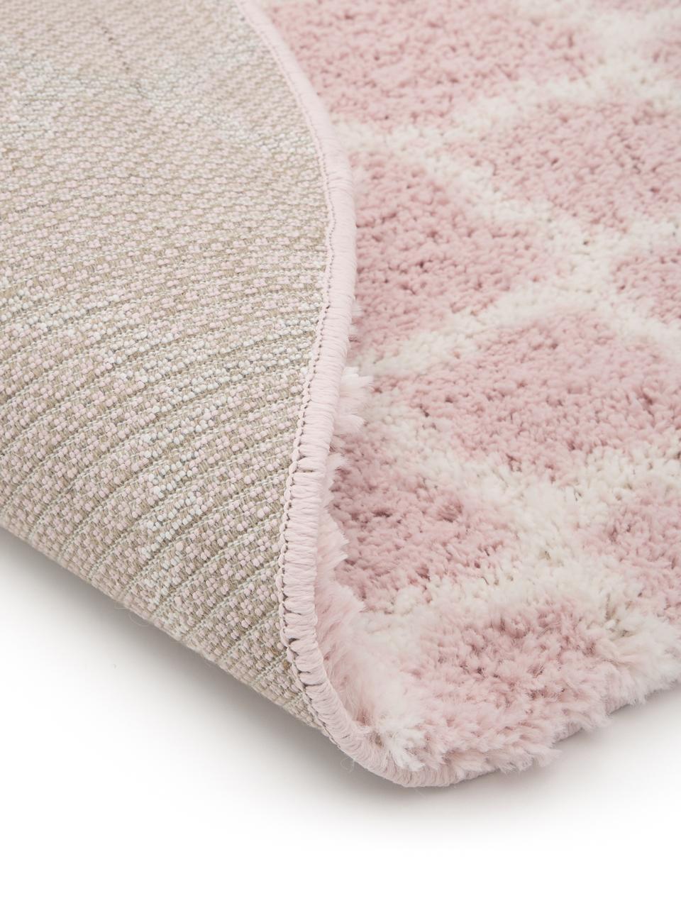 Hochflor-Teppich Mona in Altrosa/Cremeweiß, Flor: 100% Polypropylen, Altrosa, Cremeweiß, Ø 150 cm (Größe M)