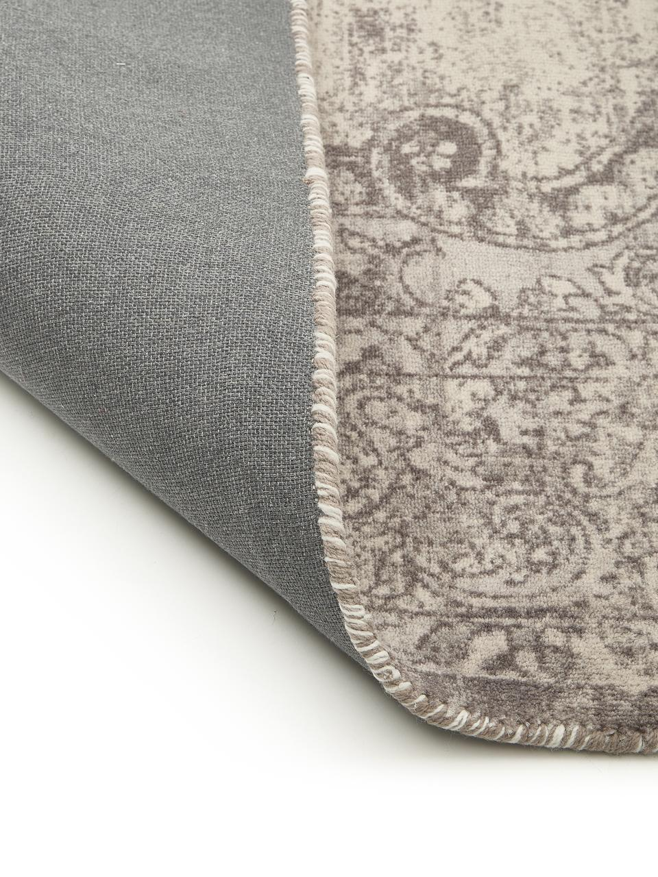 Tappeto vintage in nylon e cotone Elegant, Retro: 100% cotone, Grigio, Larg. 80 x Lung. 150 cm (taglia XS)