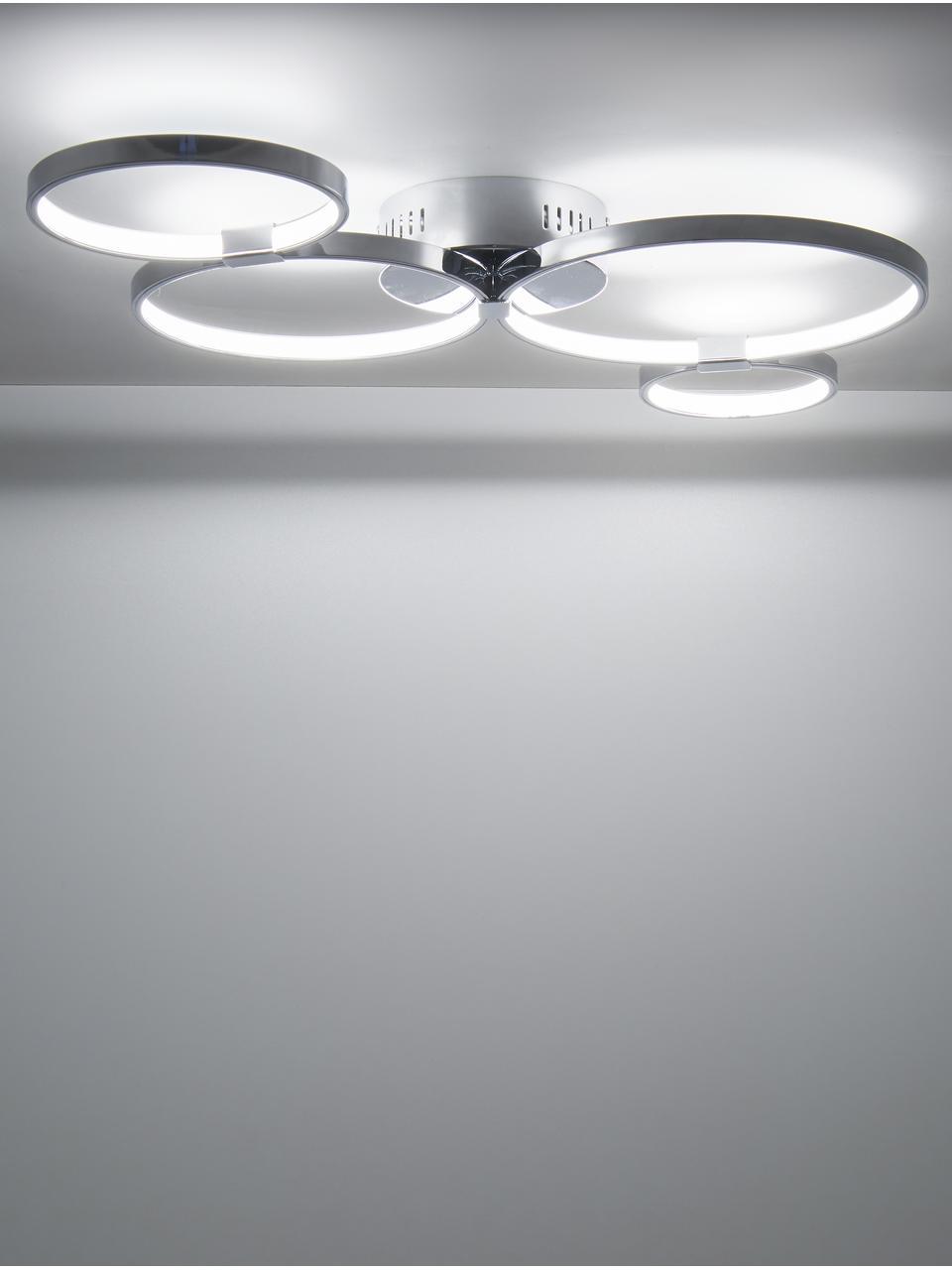 LED plafondlamp Solexa, Baldakijn: verchroomd metaal, Diffuser: kunststof, Chroomkleurig, 75 x 7 cm