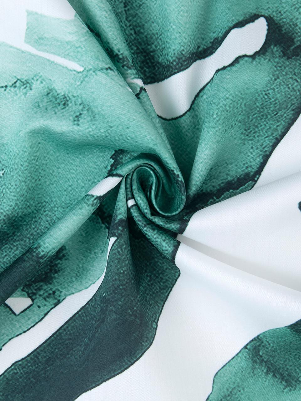 Baumwollsatin-Bettwäsche Lou mit Blattmotiv, Webart: Satin Fadendichte 210 TC,, Weiß,Grün, 135 x 200 cm + 1 Kissen 80 x 80 cm