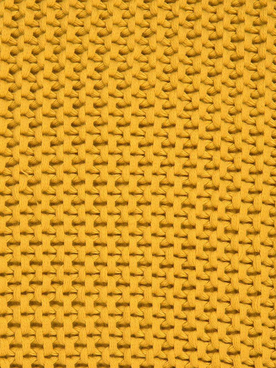 Strick-Kissenhülle Adalyn in Gelb, 100% Baumwolle, Ockergelb, 40 x 40 cm