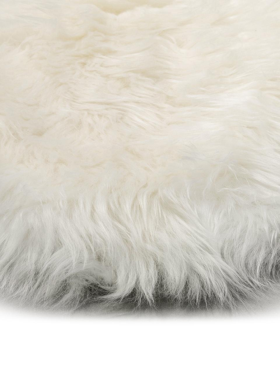 Schapenvacht Oslo, glad, Bovenzijde: 100% schapenvacht, Onderzijde: 100% leer, chroomvrij gel, Crèmewit, 60 x 90 cm