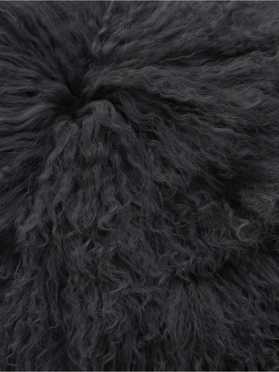 Kussenhoes van langharige schapenvacht Ella in donkergrijs, gekruld, Grijs, 40 x 40 cm