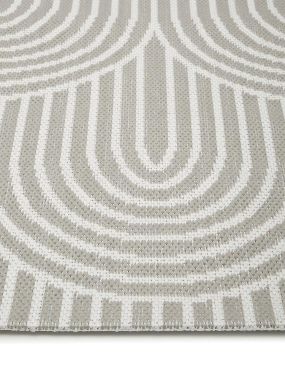 In- & Outdoorteppich Arches in Grau/Cremeweiß, 86% Polypropylen, 14% Polyester, Grau, Weiß, B 200 x L 290 cm (Größe L)