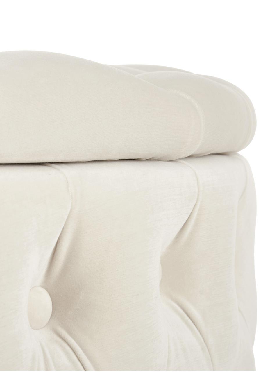 Pouf coffre XL en velours Chiara, Blanc crème