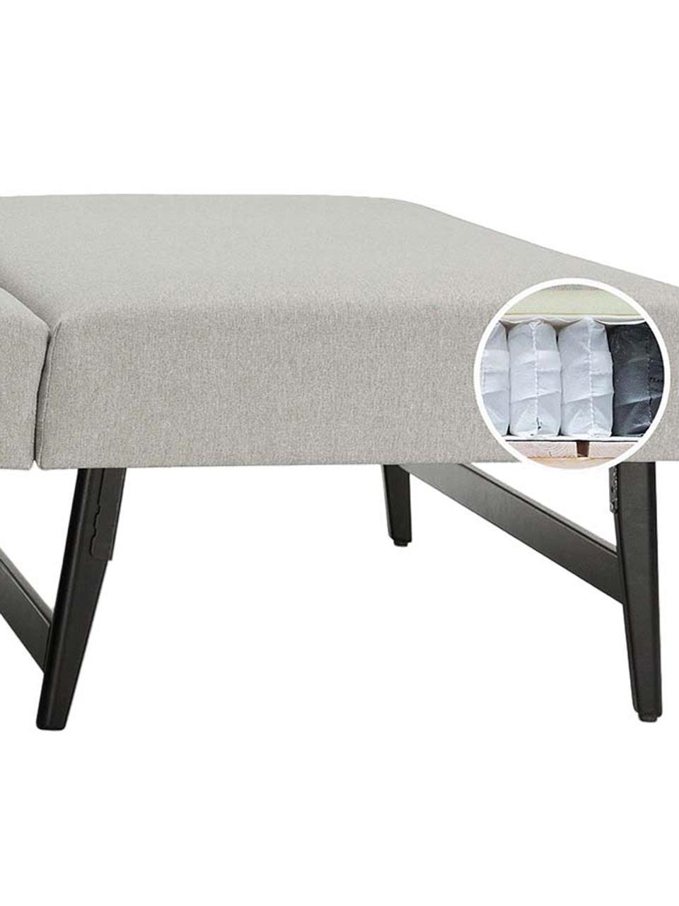Schlafsofa Bruno (2-Sitzer) in Hellgrau, ausklappbar, Bezug: Pflegeleichtes robustes P, Rahmen: Massivholz, Webstoff Hellgrau, B 180 x T 84 cm