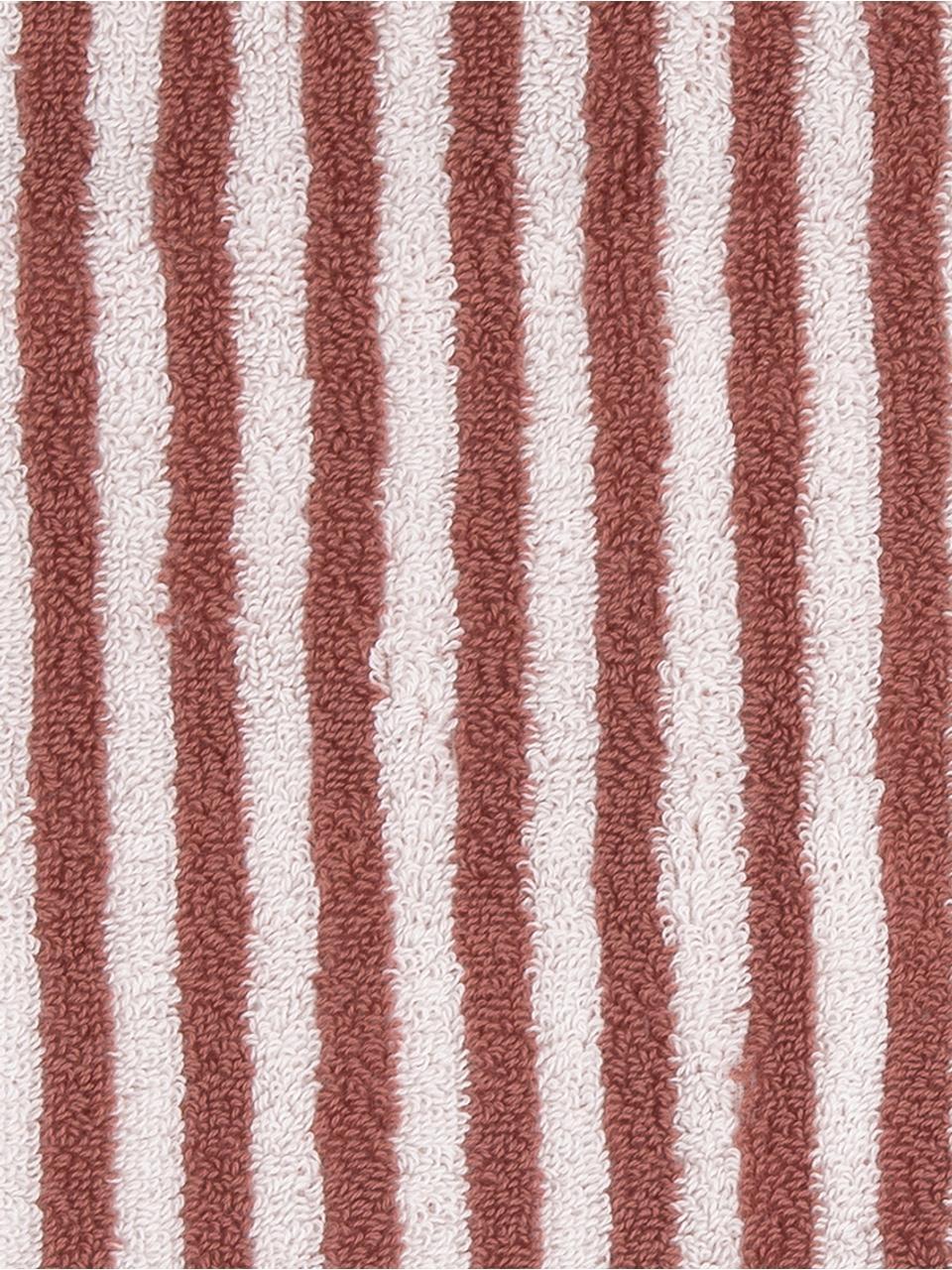 Gestreiftes Handtuch-Set Viola, 3-tlg., Terrakotta, Cremeweiß, Sondergrößen