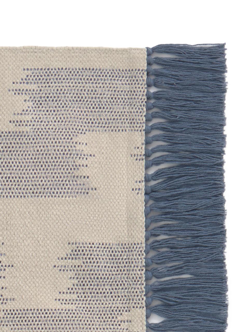 Teppich Fiji in Blau/Beige mit Fransen, 100% Baumwolle, Blau, Beige, B 150 x L 200 cm (Größe S)