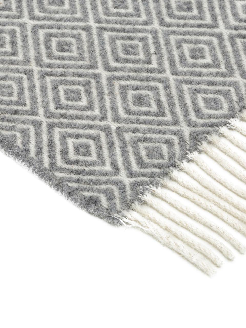 Koc z wełny Alison, 80% wełna merino, 20% nylon, Złamana biel, jasny szary, S 140 x D 200 cm
