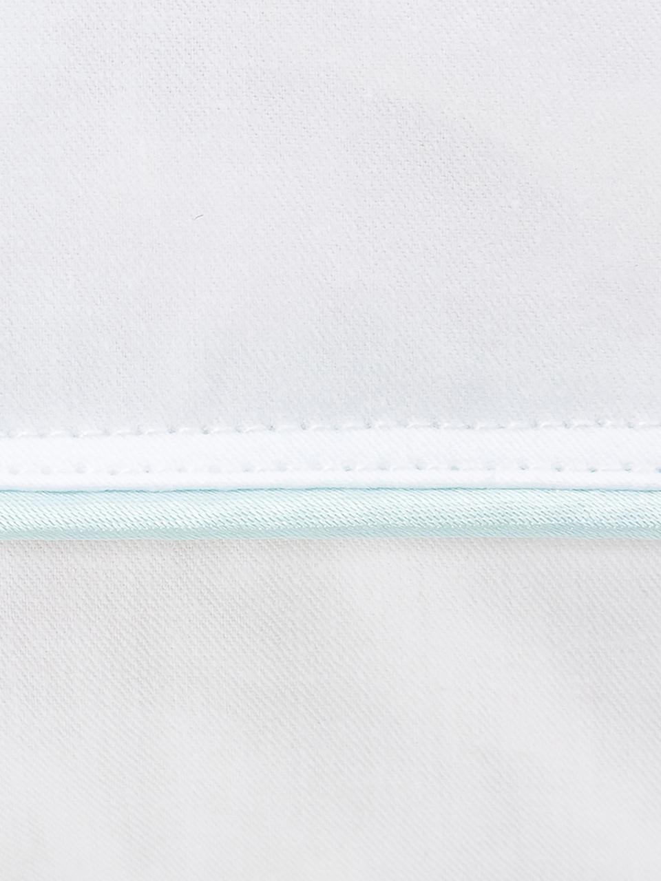 3-Kammer-Kopfkissen Premium, mittel, Außen: Weiße neue Daunen und Fed, Innen: neue Weiße Federn, Klasse, Hülle: 100% Baumwolle, Mako-Fein, Weiß mit türkiser Satinbiese, 40 x 80 cm