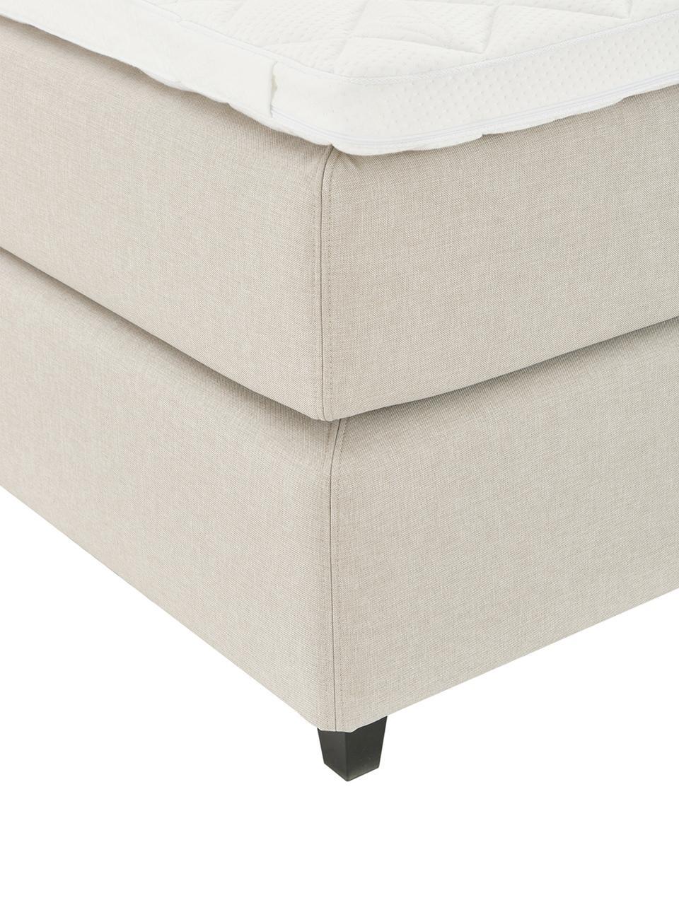 Beige premium boxspring bed Eliza, Matras: 5-zones pocketvering, Poten: massief gelakt berkenhout, Beige, 180 x 200 cm