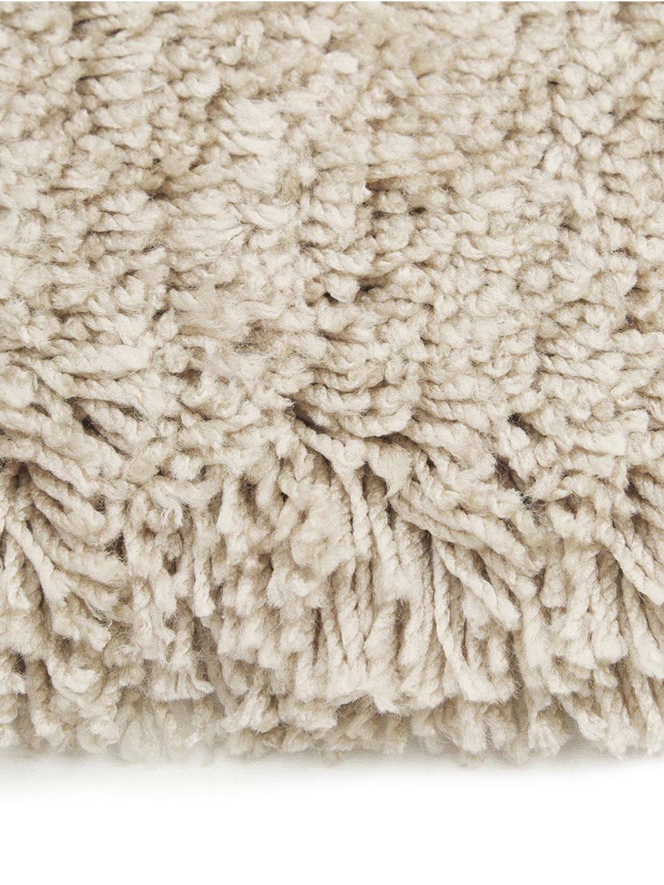 Fluffy rond hoogpolig vloerkleed Dreamy met franjes, Bovenzijde: 100% polyester, Onderzijde: 100% katoen, Crèmekleurig, Ø 150 cm (maat M)