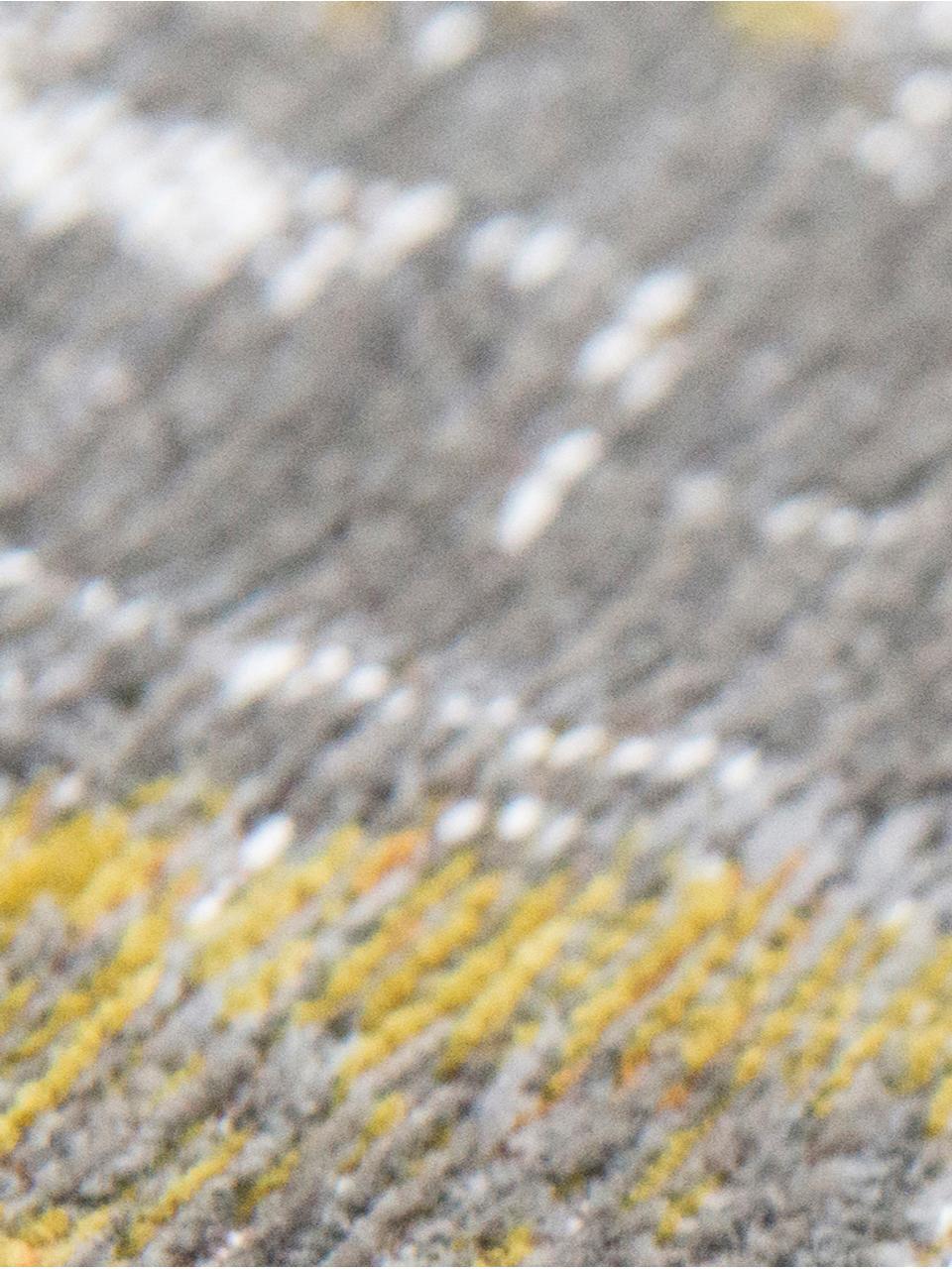 Tappeto di design grigio/giallo Streaks, Tessuto: Jacquard, Retro: Miscela di cotone, rivest, Giallo, grigio, bianco, Larg. 140 x Lung. 200 cm (taglia S)