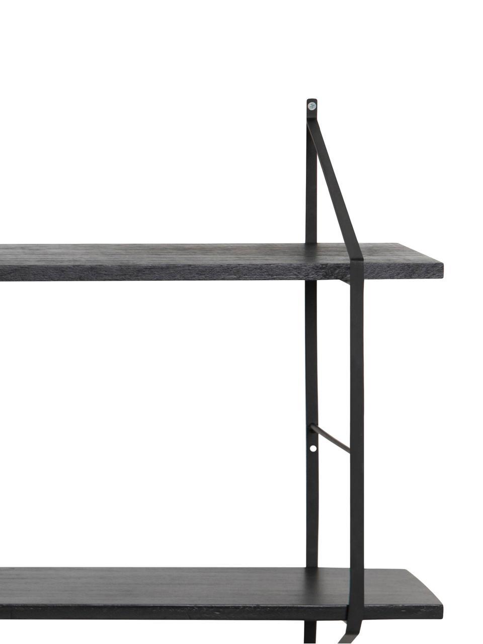 Großes Wandregal Belfast mit Metallgestell, Gestell: Metall, pulverbeschichtet, Schwarz, 191 x 79 cm