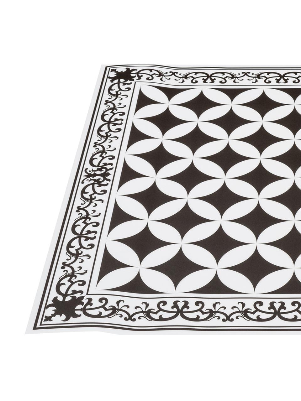 Tappetino antiscivolo nero/bianco in vinile Chadi, Vinile riciclabile, Nero, bianco, Larg. 136 x Lung. 203 cm