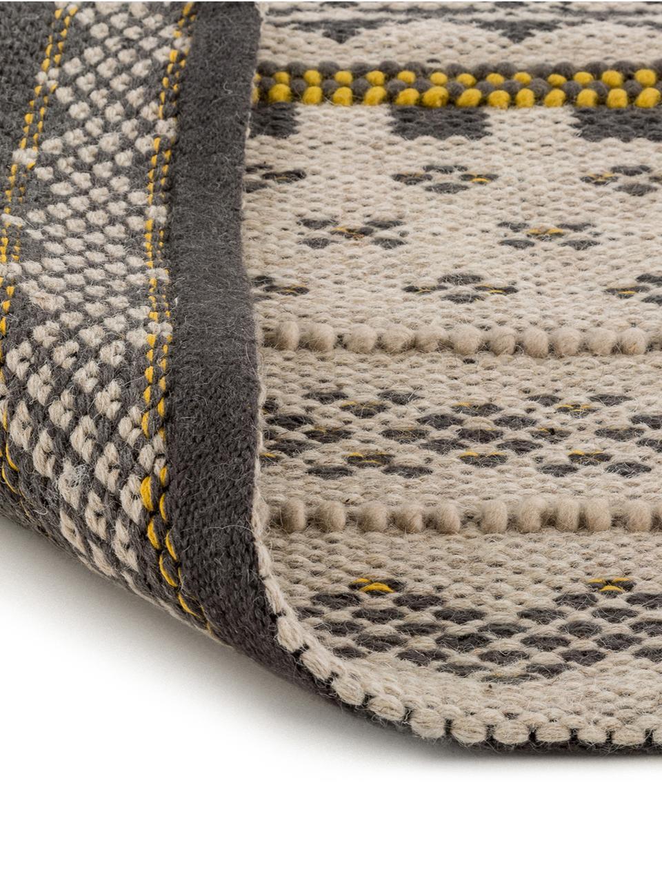 Wollen vloerkleed Nova in ethno stijl, Grijs, mosterdgeel, beige, 140 x 200 cm