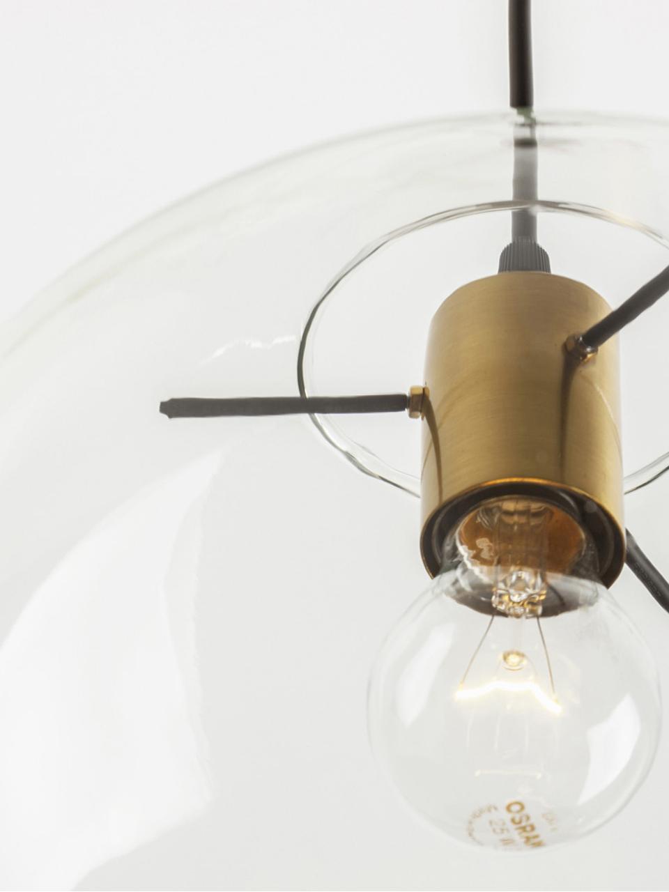 Lampada a sospensione con paralume in vetro Mirale, Paralume: vetro, Struttura: acciaio rivestito, Baldacchino: materiale sintetico, Ottone, trasparente, Ø 25 x Alt. 26 cm