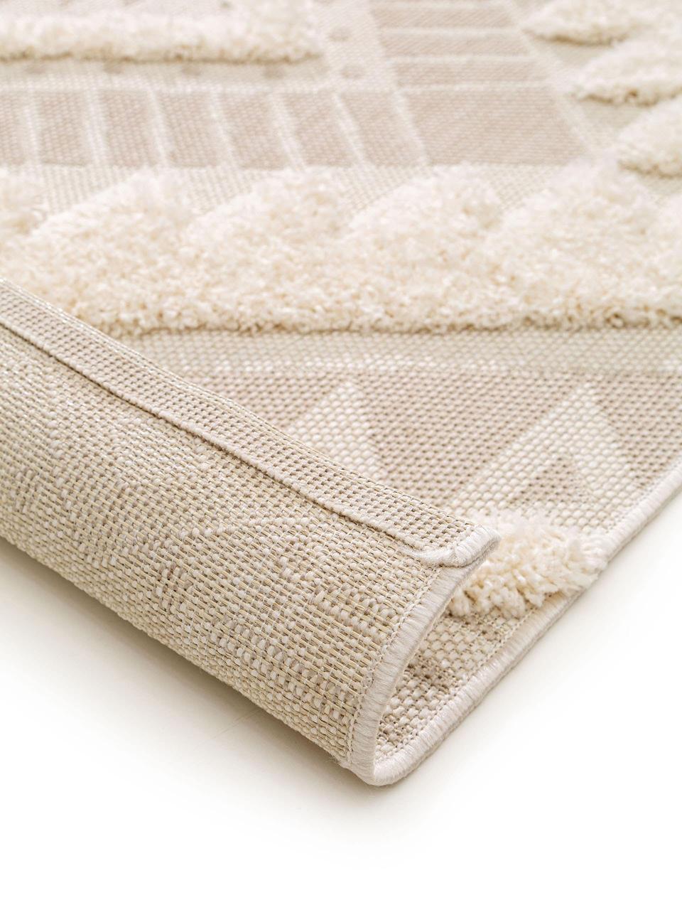 Ethno in- & outdoor vloerkleed Carlo met hoog-laag structuur, 100% polyethyleen, Beige, crèmekleurig, B 120 x L 170 cm (maat S)