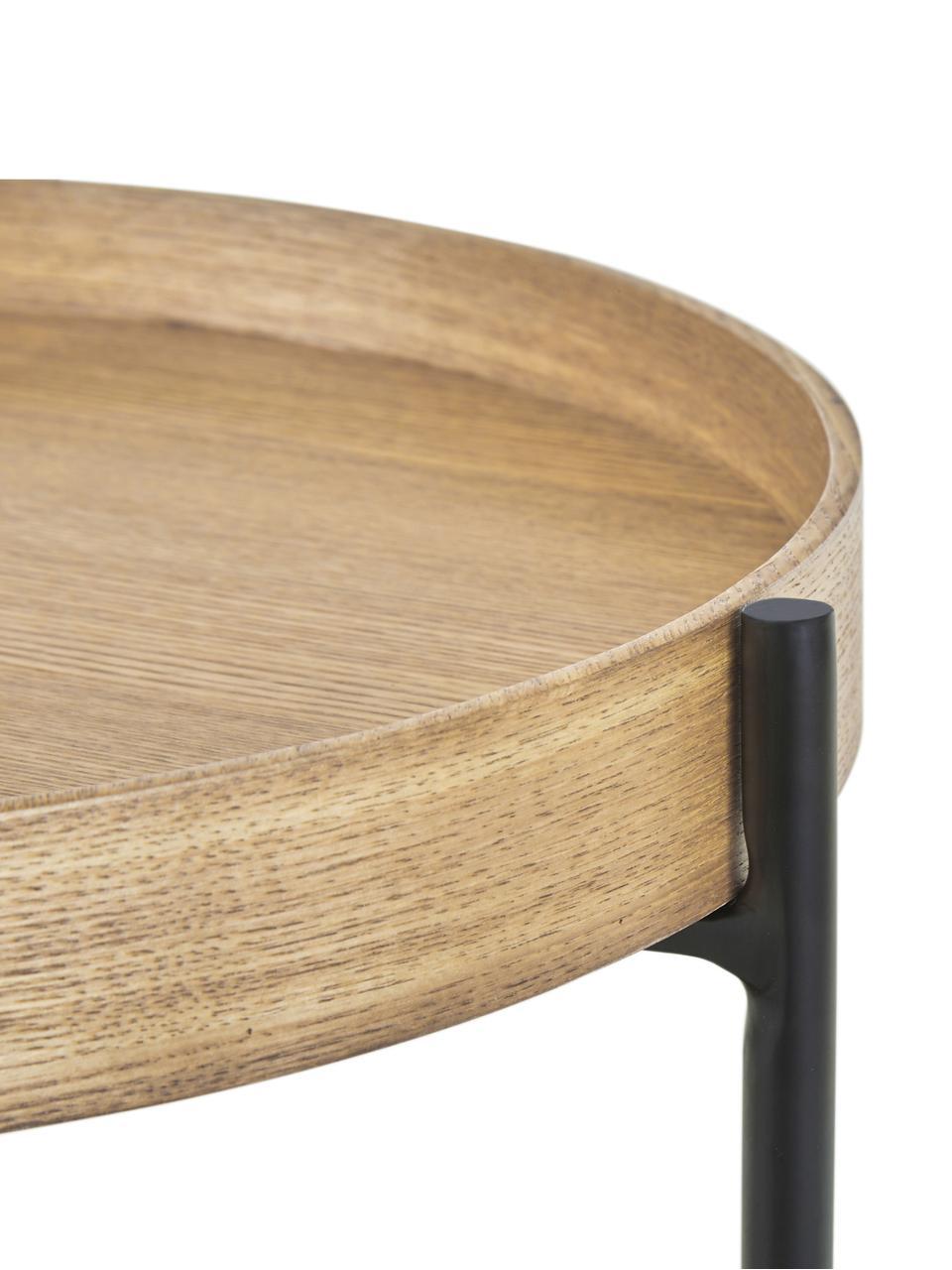 Stolik pomocniczy z półką Renee, Blat: płyta pilśniowa średniej , Stelaż: metal malowany proszkowo, Blaty: drewno dębowe Stelaż: czarny, matowy, Ø 44 x W 49 cm