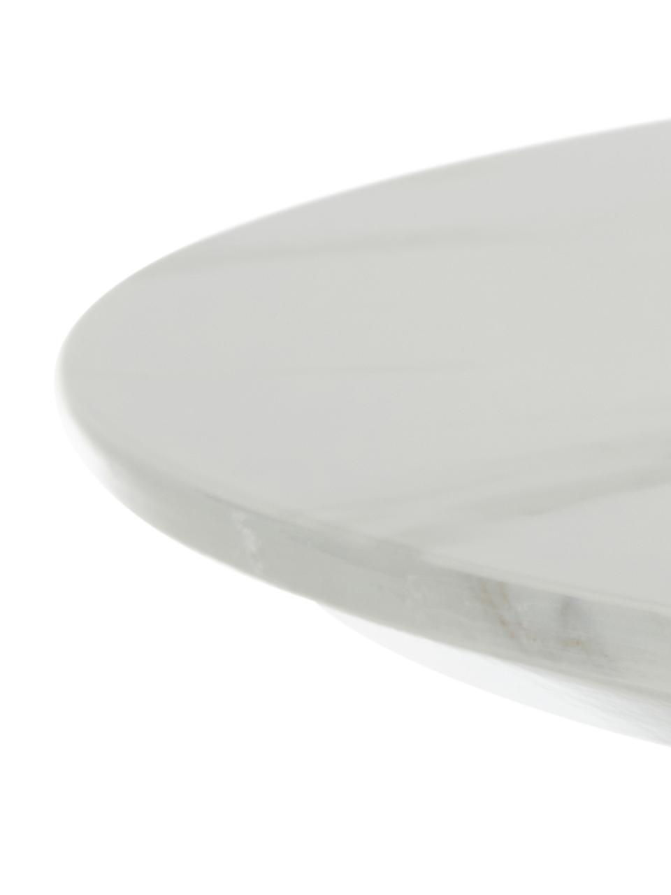 Tavolo rotondo effetto marmo Karla, Piano d'appoggio: pannello di fibra a media, Piano d'appoggio: bianco marmorizzato Tavolino da salotto: dorato opaco, Ø 90 x Alt. 75 cm