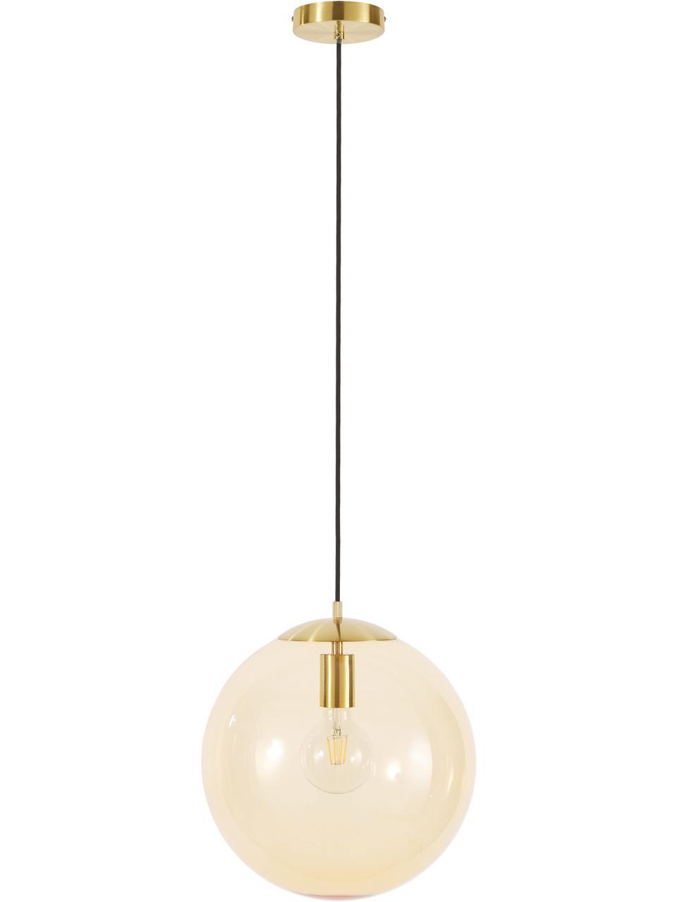 Pendelleuchte Bao aus Glas, Lampenschirm: Glas, Baldachin: Metall, galvanisiert, Gold, Ø 35 cm