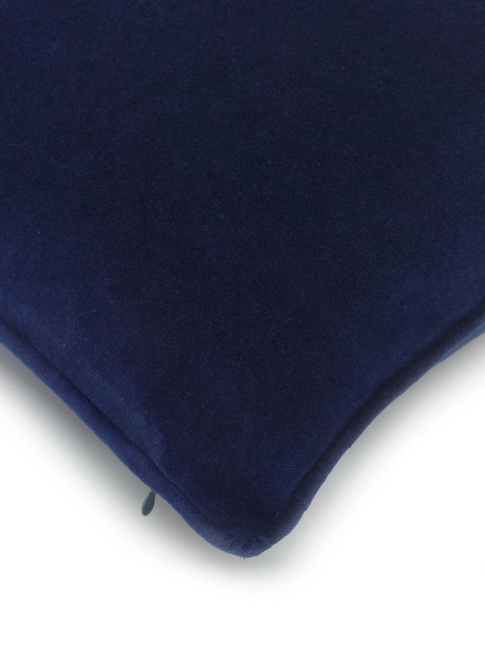 Einfarbige Samt-Kissenhülle Dana in Marineblau, 100% Baumwollsamt, Marineblau, 40 x 40 cm