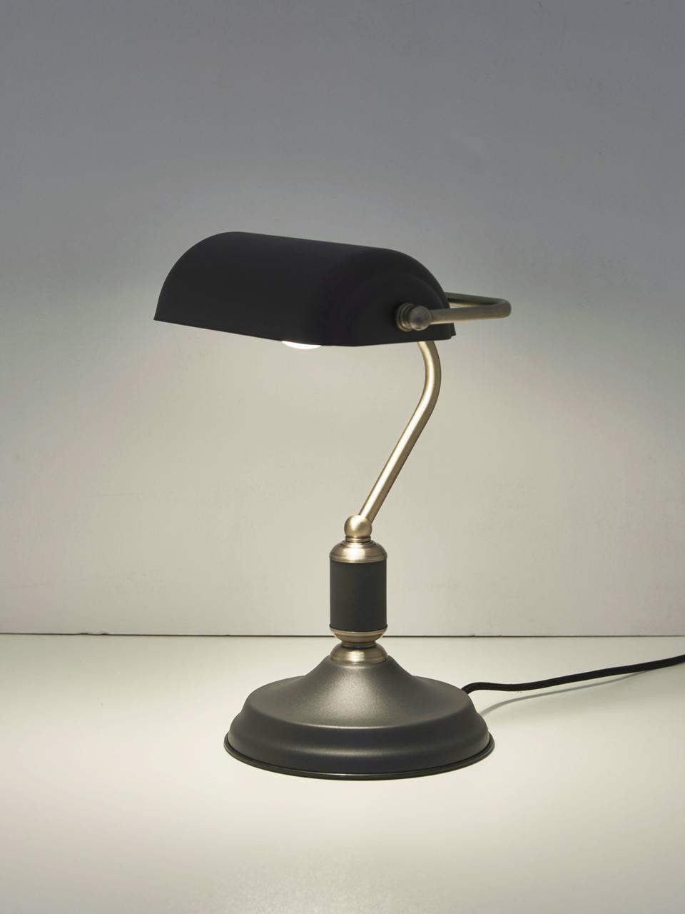 Retro-Schreibtischlampe Bank aus Metall, Lampenschirm: Metall, beschichtet, Lampenfuß: Metall, beschichtet, Anthrazit, Messingfarben, 22 x 34 cm