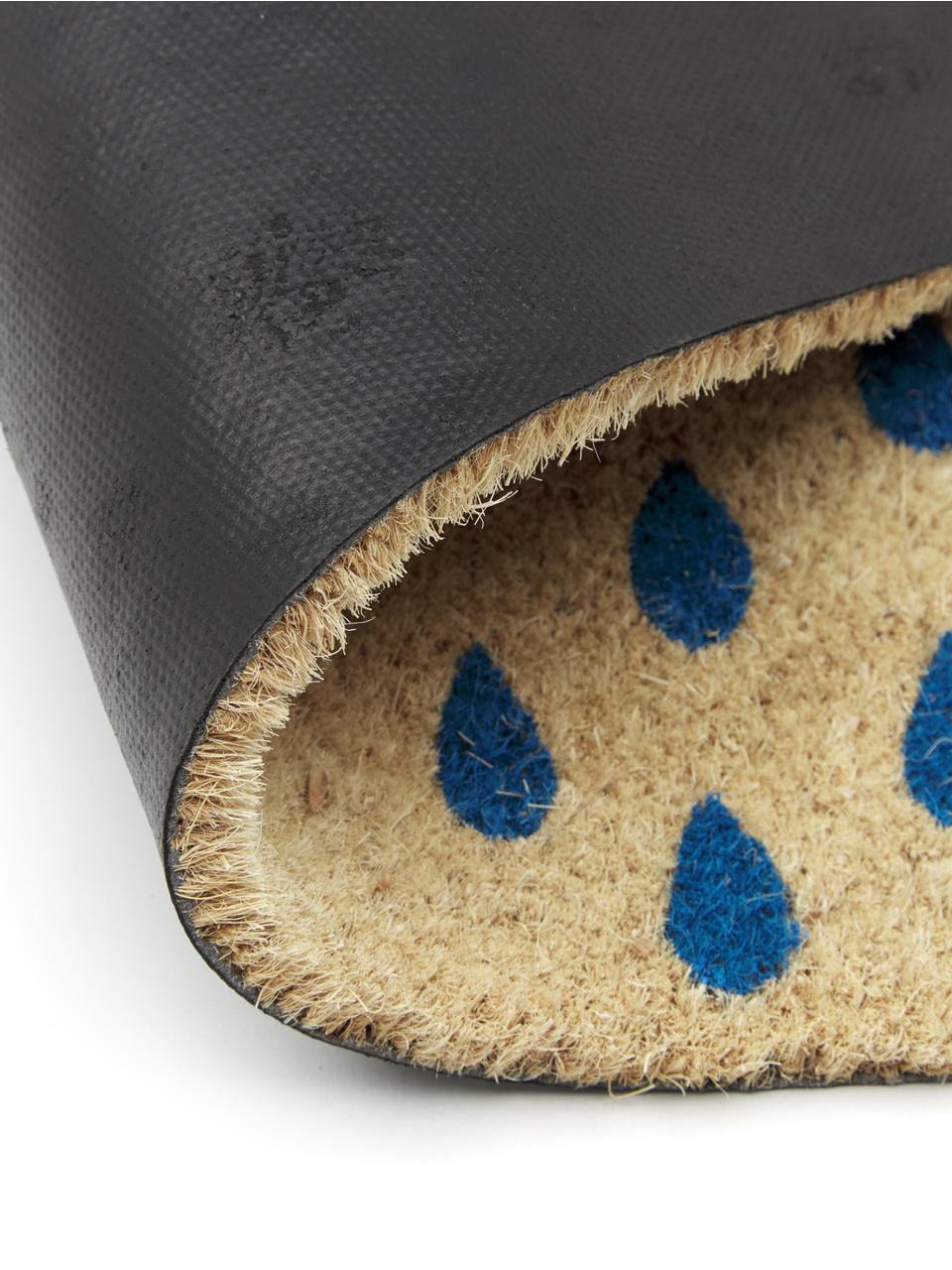 Fußmatte Rainy, Oberseite: Kokosfaser, Unterseite: Kunststoff (PVC), Hellbeige, Blau, Rot, 45 x 75 cm