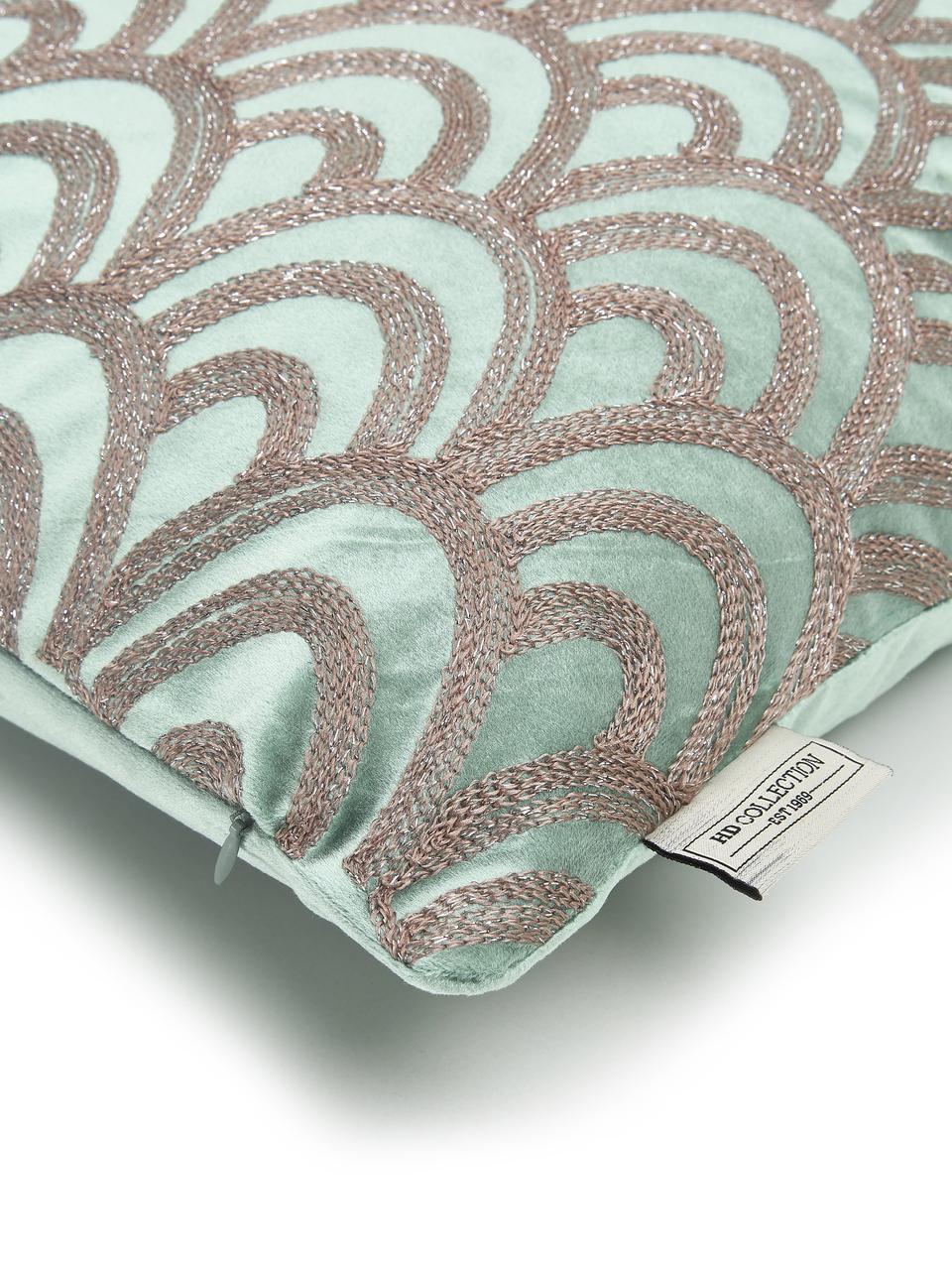 Cuscino con imbottitura in velluto Trole, 100% velluto (poliestere), Verde, argentato, Larg. 40 x Lung. 60 cm