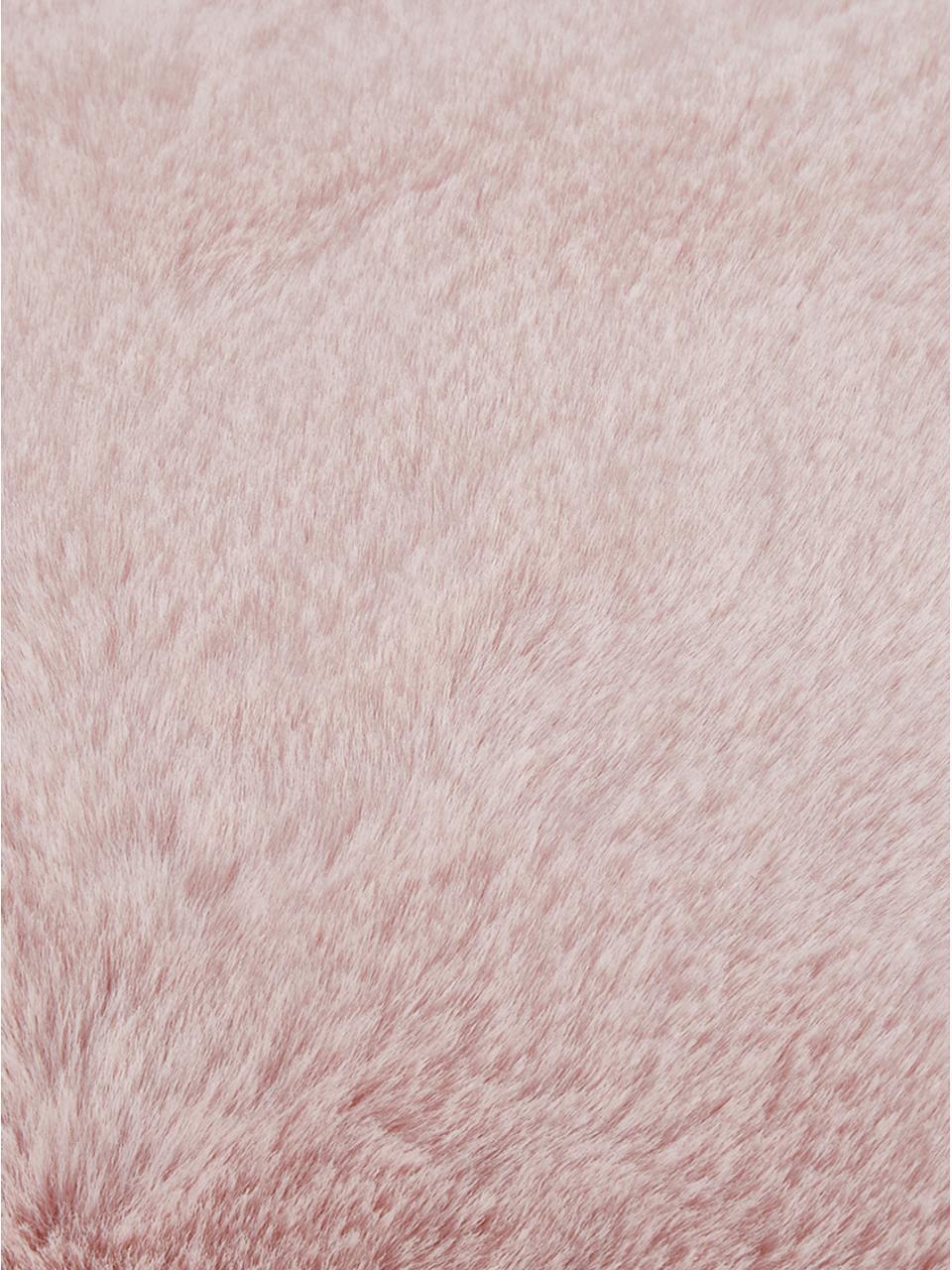 Federa in ecopelliccia Maette, Retro: 100% poliestere, Rosa, Larg. 45 x Lung. 45 cm
