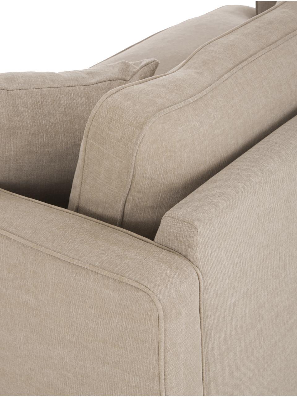 Big Sofa Warren (2-Sitzer) in Beige mit Leinenstoffgemisch, Gestell: Holz, Bezug: 60% Baumwolle, 40% Leinen, Beine: Schwarzholz, Webstoff Beige, 178 x 85 cm