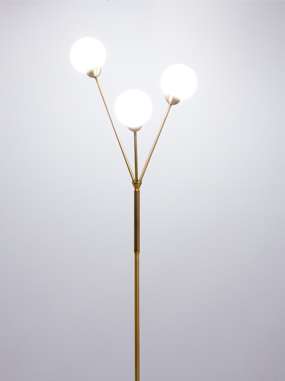 Standleuchte Twiggy aus Opalglas, Lampenfuß: Messing, Weiß, Messing, Ø 43 x H 165 cm