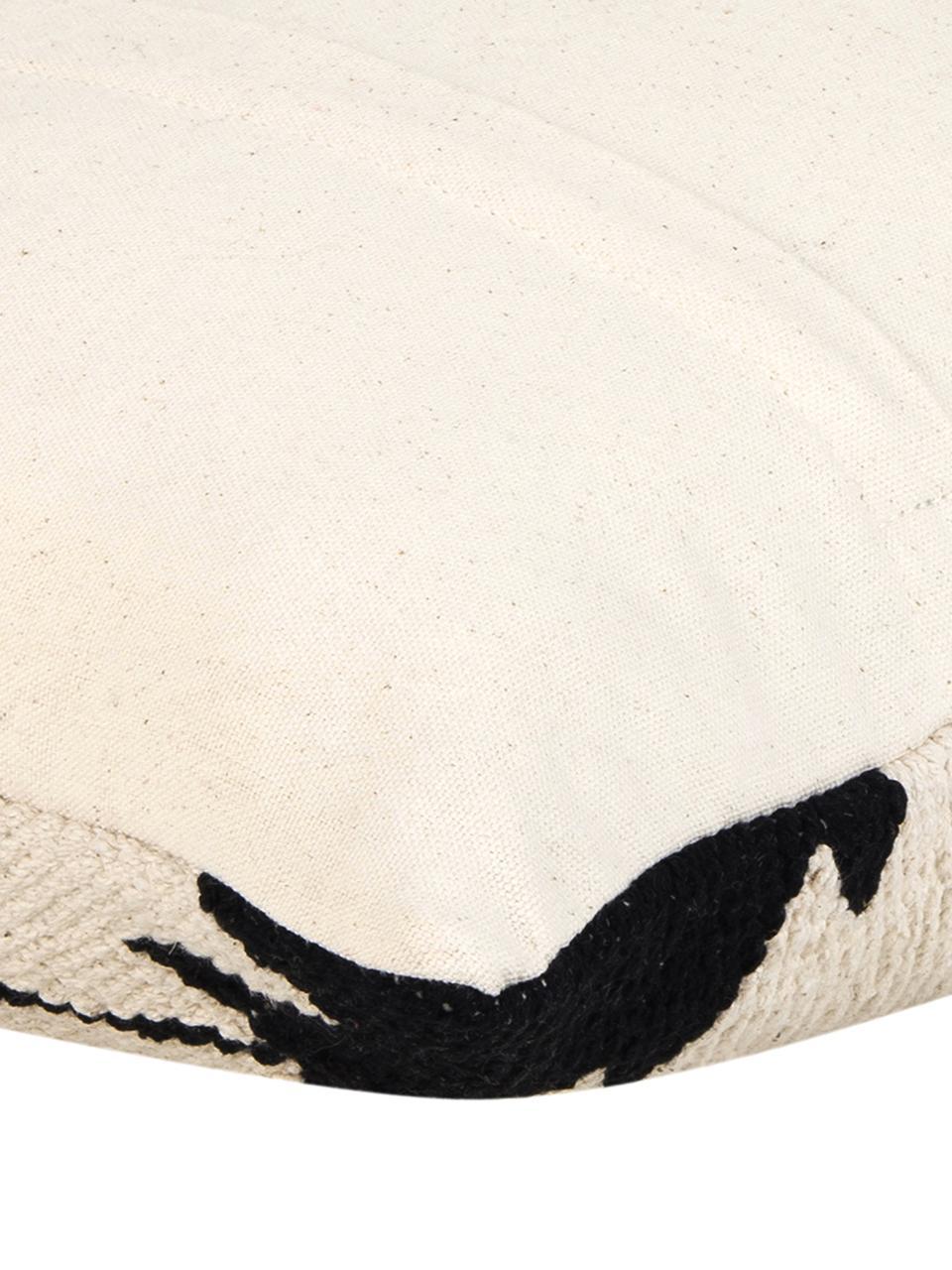 Housse de coussin 45x45 ethnique Cancun, Noir, beige