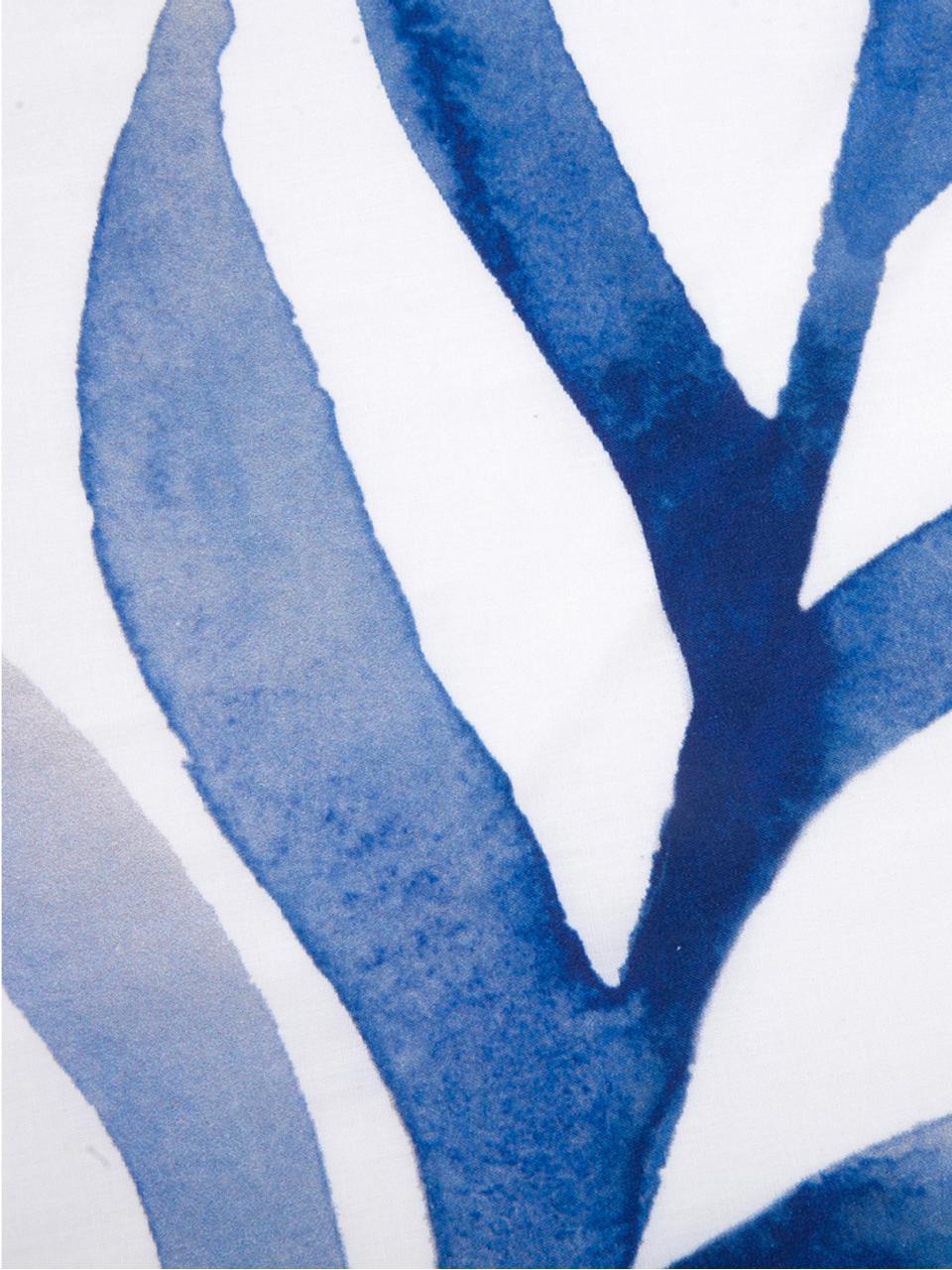 Baumwollperkal-Bettwäsche Francine mit Blattmuster, Webart: Perkal Fadendichte 180 TC, Vorderseite: Blau, WeißRückseite: Weiß, 240 x 220 cm + 2 Kissen 80 x 80 cm