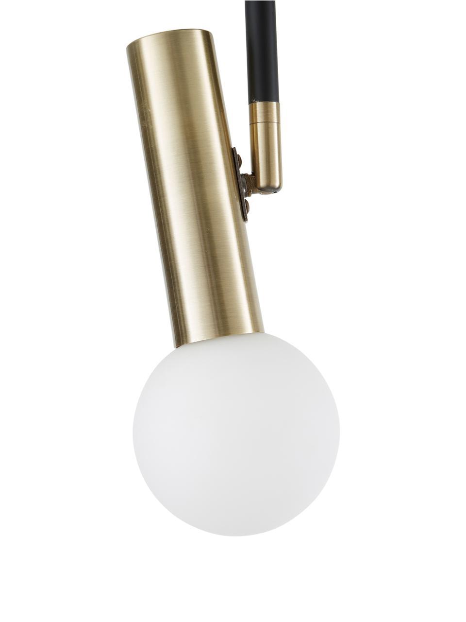 Plafonnier LED à spots orientables Wilson, Rosace: noir, mat Douilles: couleur laitonnée Abat-jour: blanc