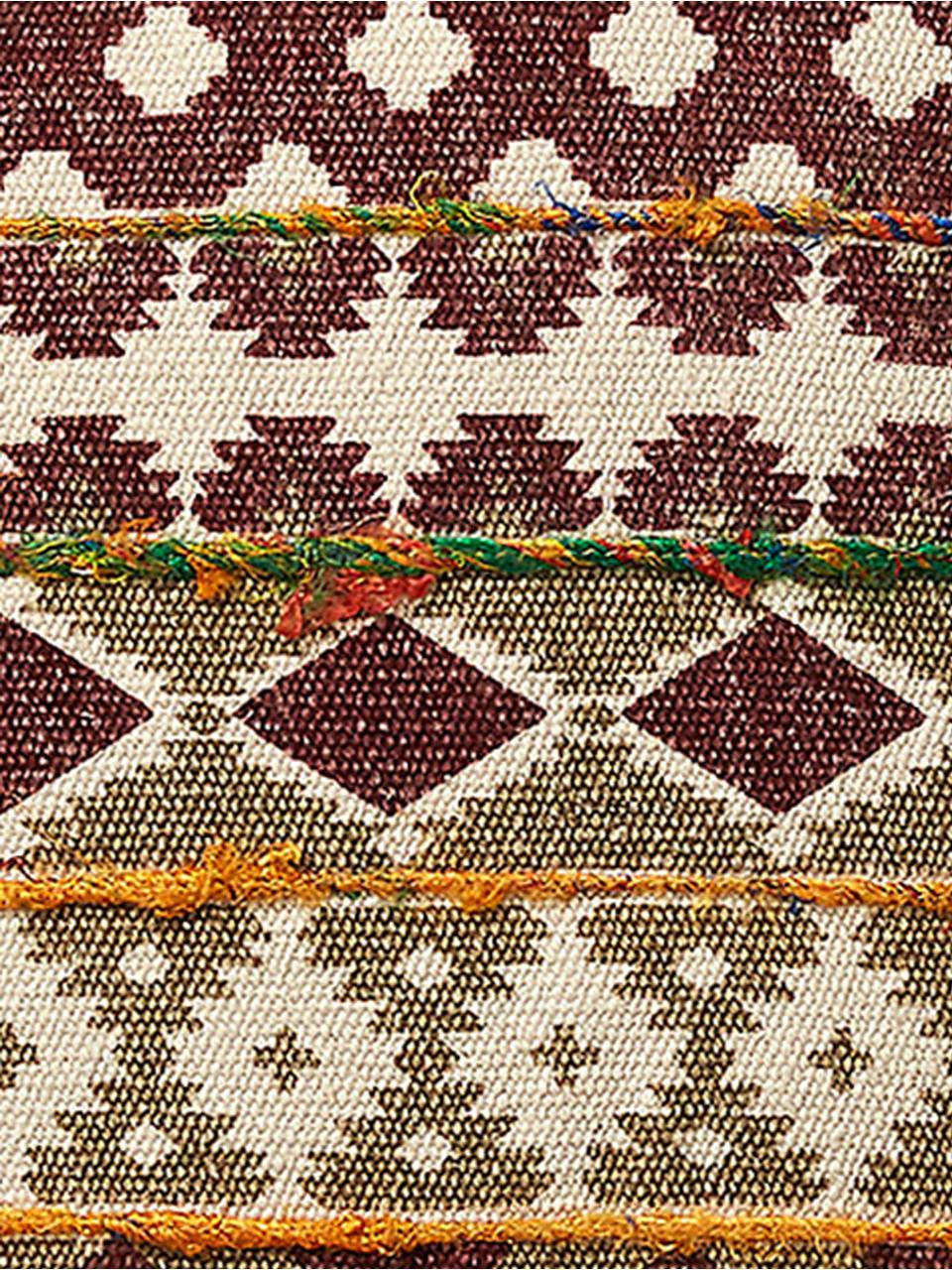 Federa arredo ricamata con nappe Mahesana, 100% cotone, Beige, rosso, giallo, verde, Larg. 45 x Lung. 45 cm