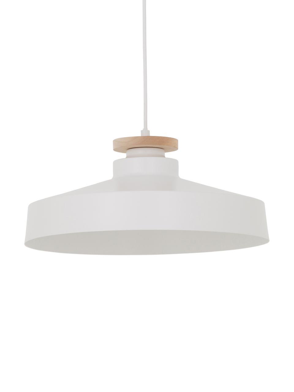 Lampada a sospensione stile nordico Malmö, Paralume: metallo, legno, Baldacchino: metallo, Bianco, Ø 40 x Alt. 20 cm