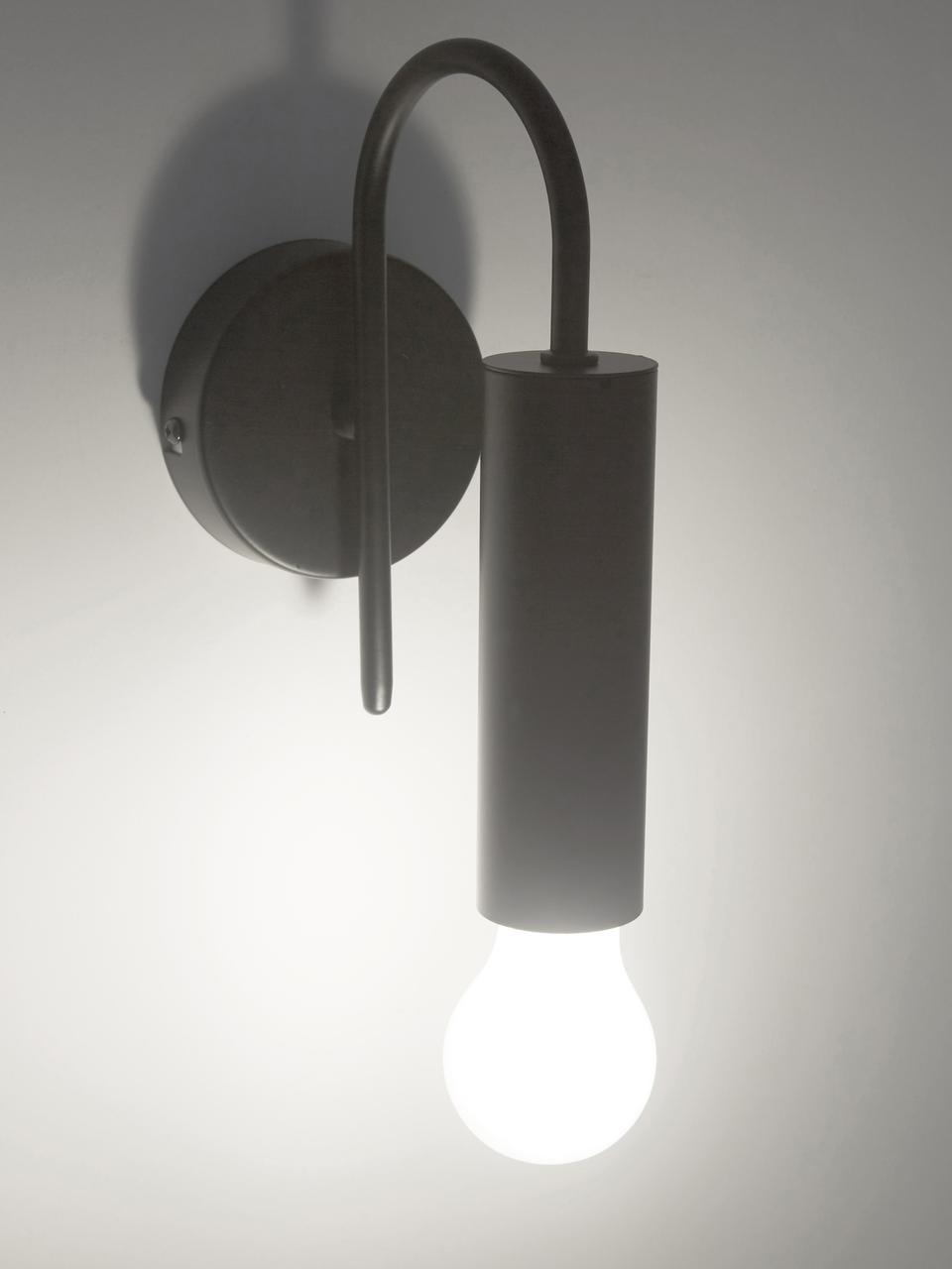 Applique Loppe, Struttura: metallo verniciato, Nero, Larg. 10 x Alt. 21 cm