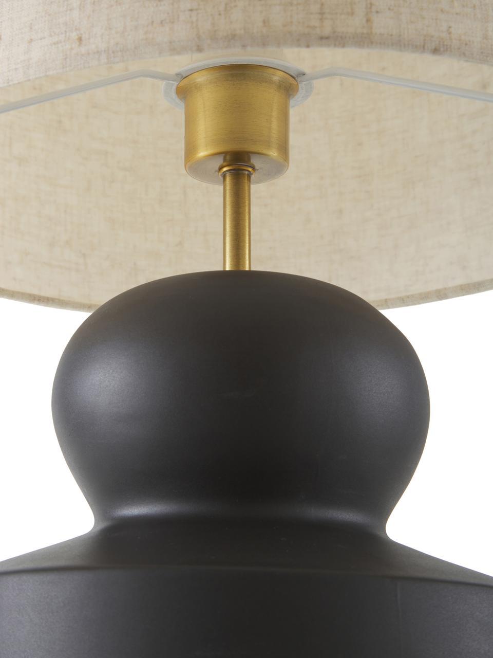 Lampe à poser en céramique Georgina, Beige, noir