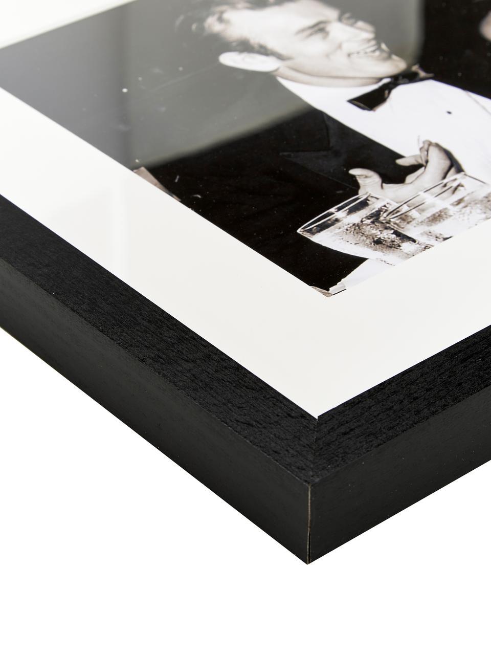 Stampa fotografica incorniciata Pier Abgeli e James Dean, Immagine: stampa digitale su carta, Cornice: legno di faggio verniciat, Immagine: Sepia Cornice: nero, Larg. 43 x Alt. 33 cm
