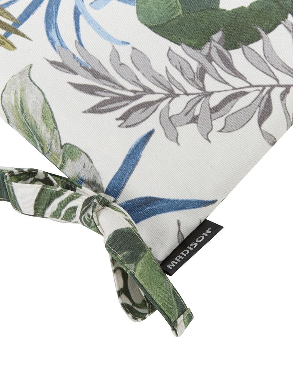 Wodoodporna poduszka na siedzisko Bliss, Tapicerka: 50% bawełna, 45% polieste, Kremowy, odcienie zielonego i odcienie niebieskiego, S 45 x D 45 cm