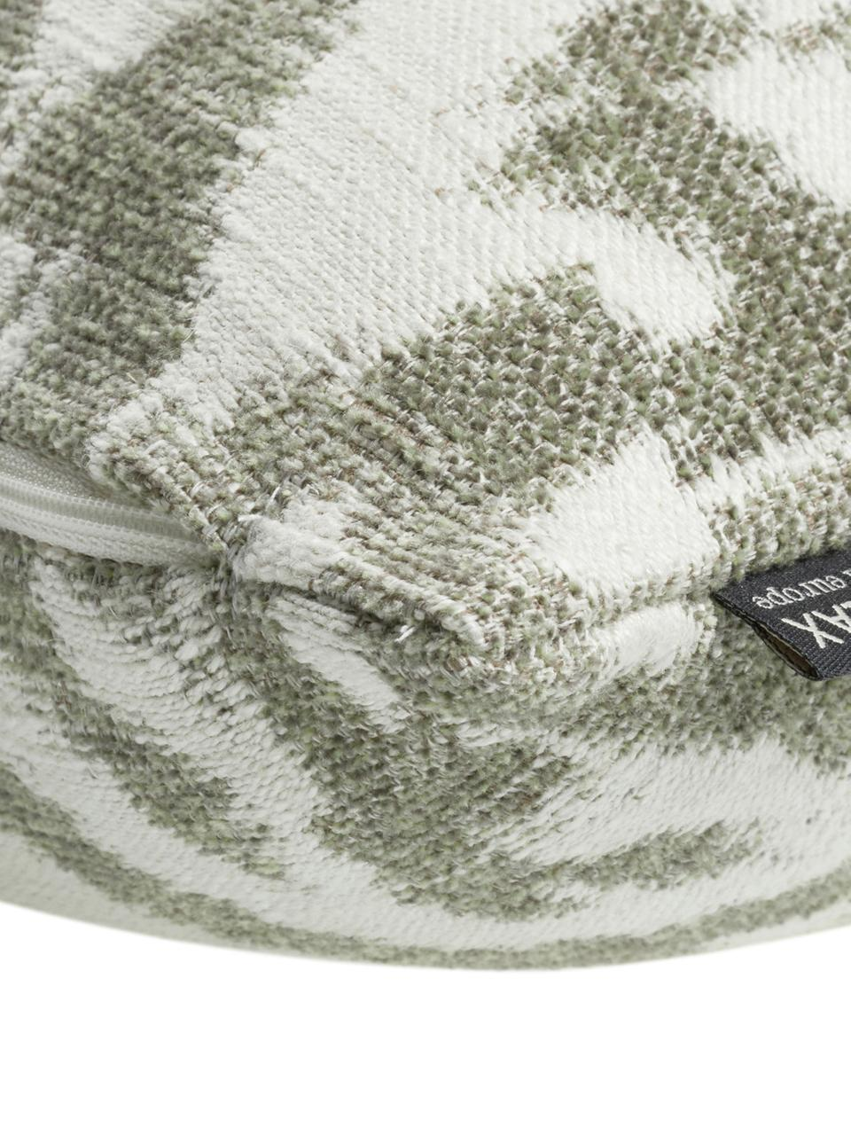 Federa arredo verde/beige Vanja, 52% poliestere, 32% viscosa, 16% lino, Beige, verde, Larg. 45 x Lung. 45 cm