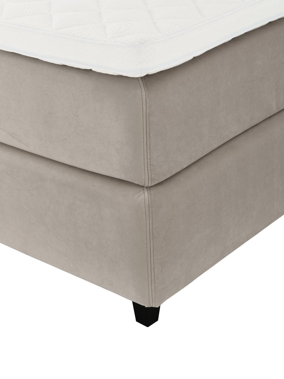 Letto Boxspring in velluto color taupe con contenitore Premium Phoebe, Materasso: nucleo a 5 zone di molle , Piedini: legno massiccio di betull, Velluto beige, 200 x 200 cm