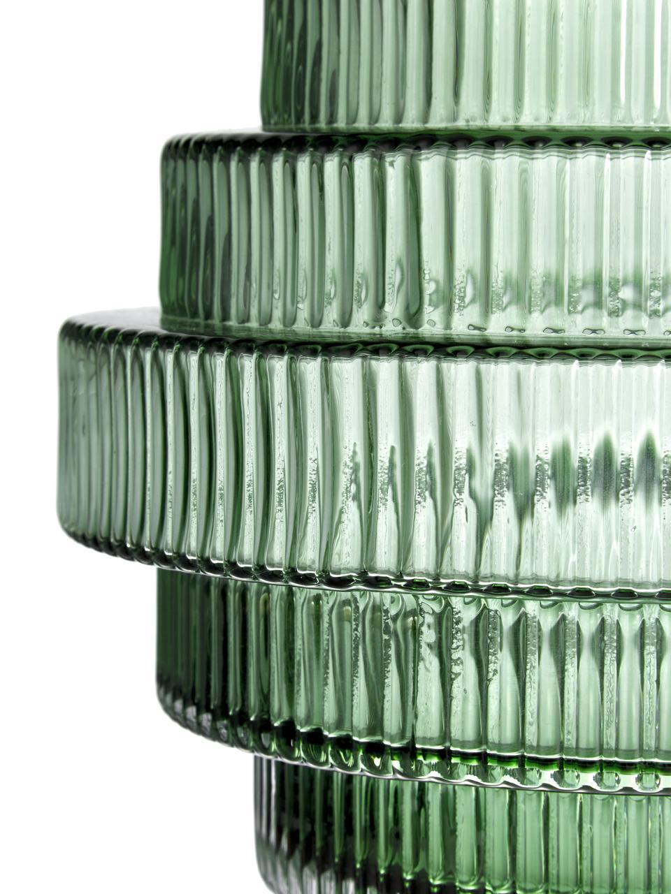 Transparente Glas-Vase Rilla mit Grünschimmer, Glas, Grün, Ø 16 x H 16 cm