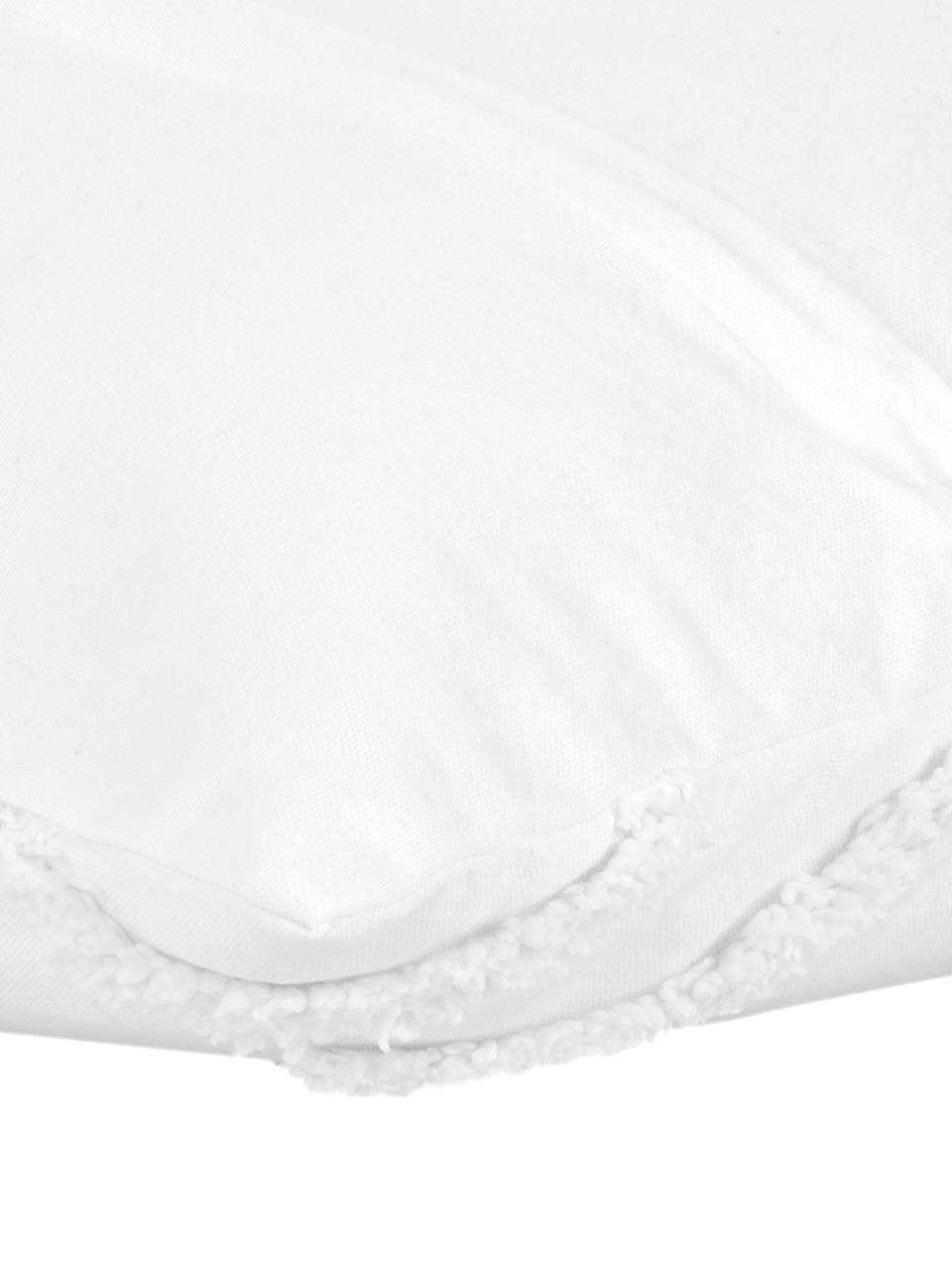 Housse de coussin 50x50 tuftée bohème Faith, Blanc