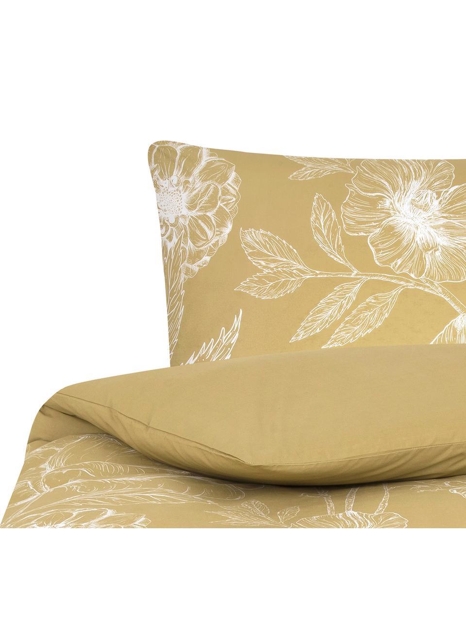 Baumwollperkal-Bettwäsche Keno mit Blumenprint, Webart: Perkal Fadendichte 180 TC, Senfgelb, Weiß, 240 x 220 cm + 2 Kissen 80 x 80 cm