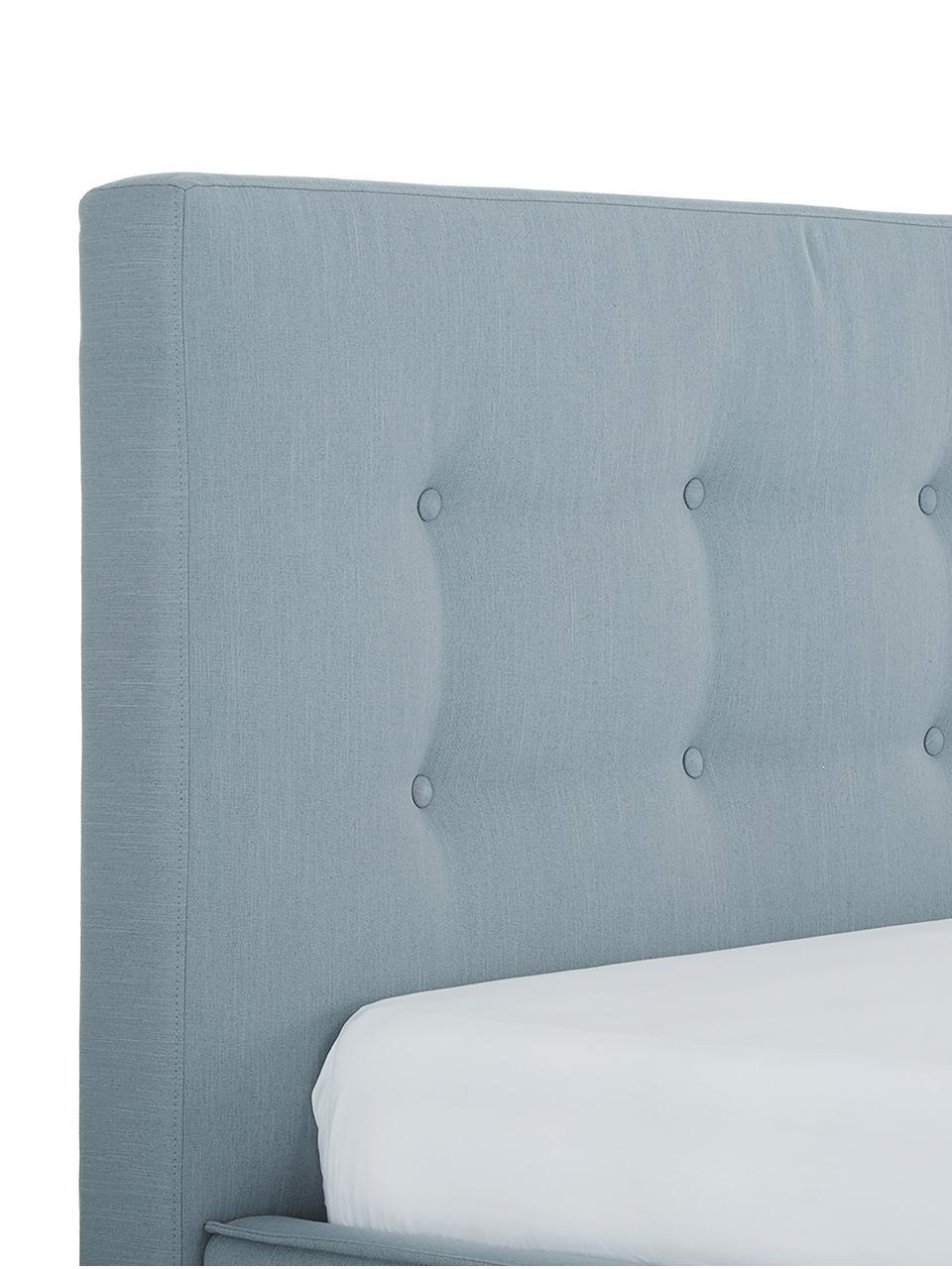Polsterbett Moon, Korpus: Massives Kiefernholz und , Füße: Massives Eichenholz, Bezug: Polyester (Strukturstoff), Blaugrau, 160 x 200 cm